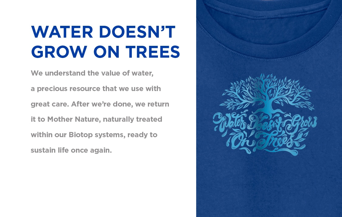 Water Doesn't Grow On Trees| We understand the value of water, a precious resource that we use                 with great care. | Gildan® USA