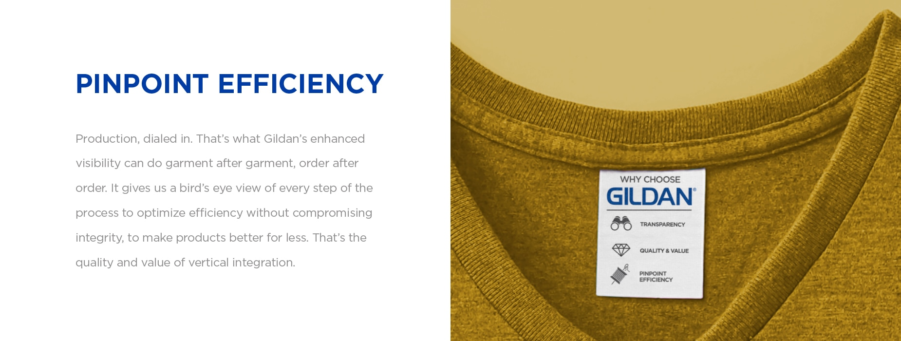 Vertical integration | Pinpoint Efficiency | Gildan® USA