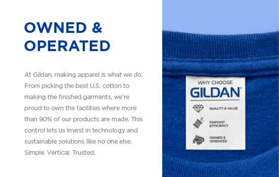 At Gildan®, we're proud to own the facilities where more than 90% of our products are made. | Gildan® USA