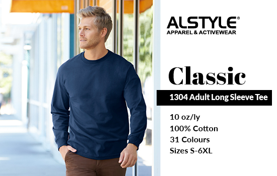 View our 1304 Adult Long Sleeve Tee from Alstyle Canada