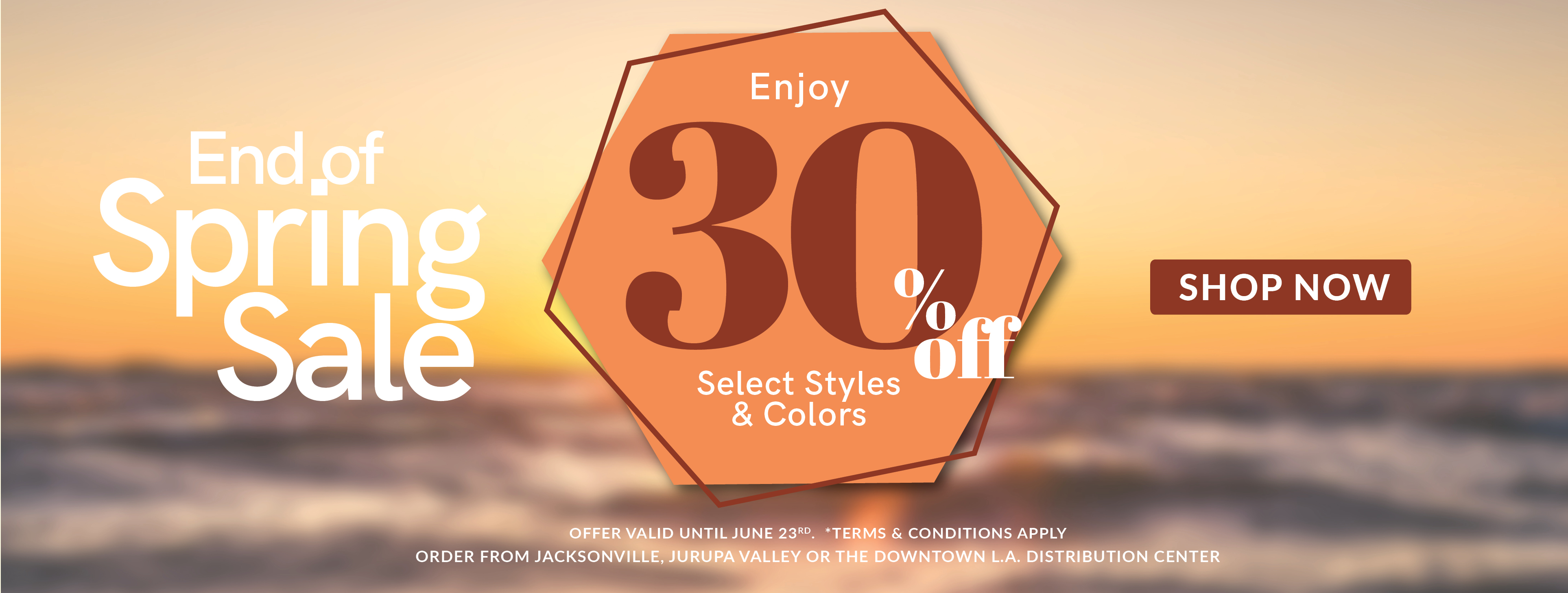 Shop now 30% Spring Sale on selected styles and colors