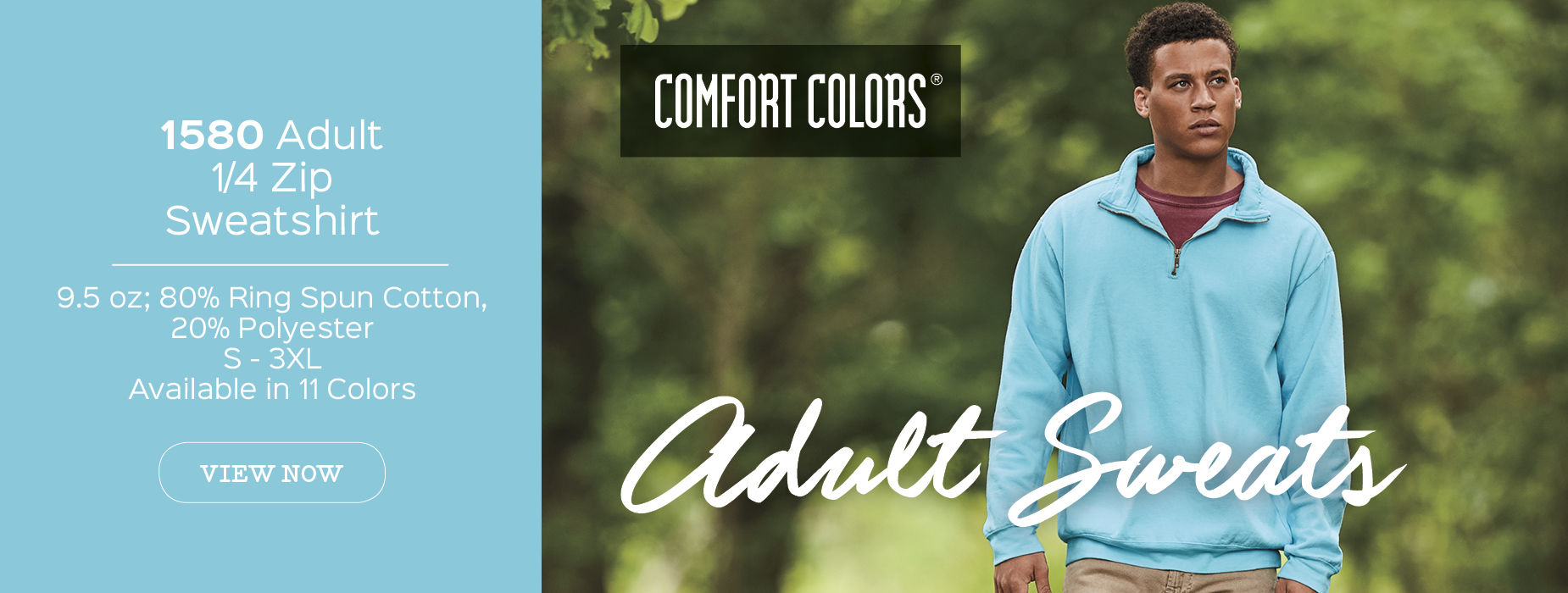 View now 1580 soft washed garment dyed Comfort Colors® adult 1/4 zip hooded sweatshirt wholesale