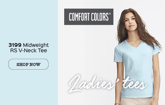 Shop now 3199 garment dyed Comfort Colors® Ladies' V-neck Tee wholesale