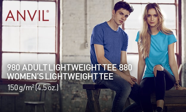 980 Adult Lightweight Tee, 880 Women's Light weight Tee