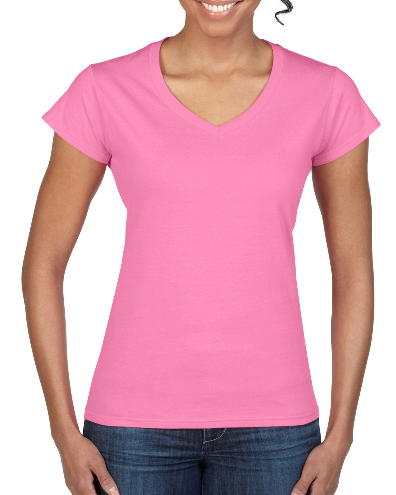 V-NECK T-SHIRT LADIES TOP TEE SOFT RING-SPUN COTTON FIT size M or L WOMEN OFFER